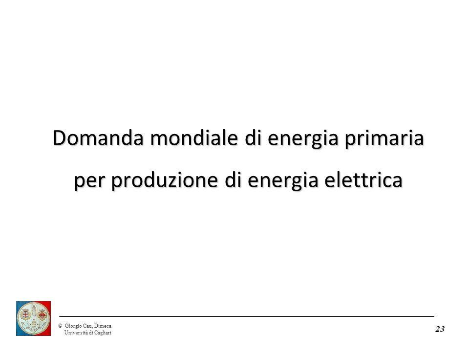 ©Giorgio Cau, Dimeca Università di Cagliari 23 Domanda mondiale di energia primaria per produzione di energia elettrica