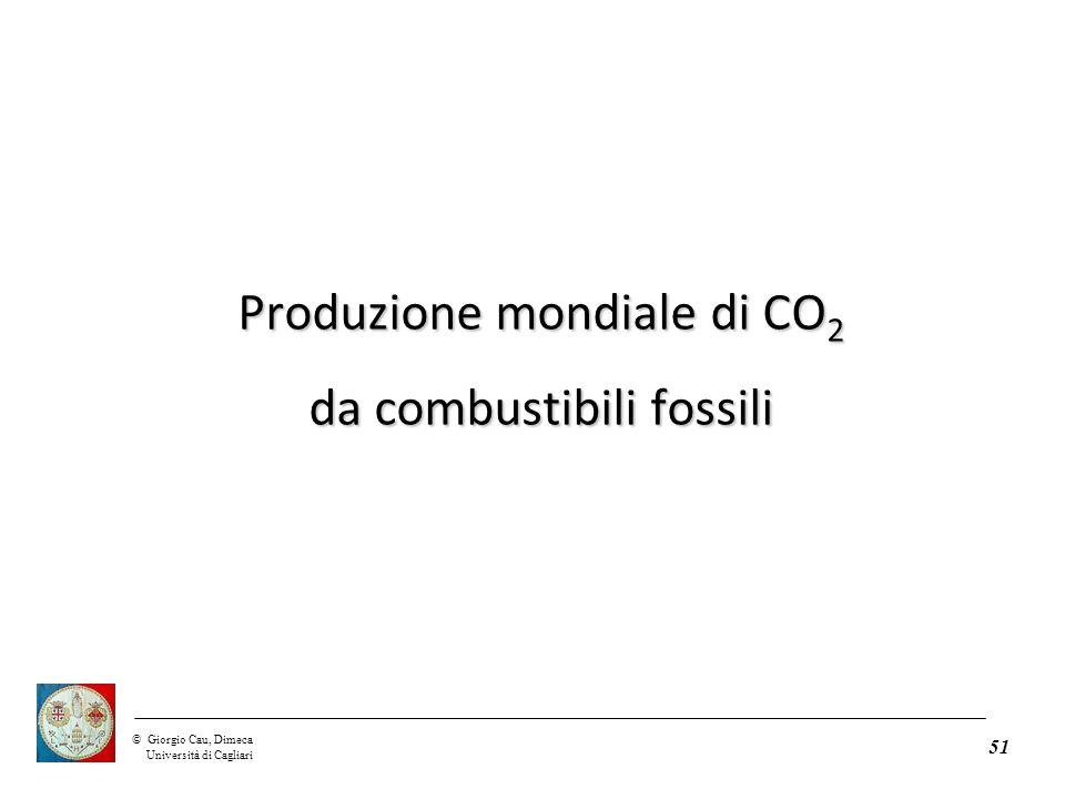 ©Giorgio Cau, Dimeca Università di Cagliari 51 Produzione mondiale di CO 2 da combustibili fossili