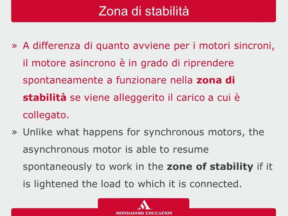 »A differenza di quanto avviene per i motori sincroni, il motore asincrono è in grado di riprendere spontaneamente a funzionare nella zona di stabilit