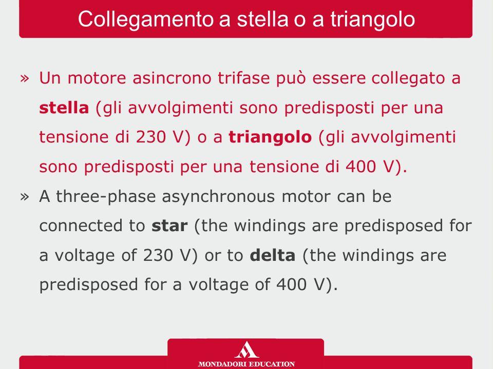 »Un motore asincrono trifase può essere collegato a stella (gli avvolgimenti sono predisposti per una tensione di 230 V) o a triangolo (gli avvolgimen