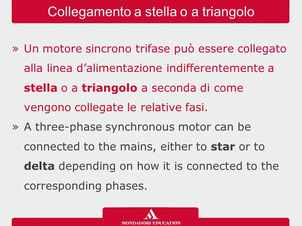 »Un motore sincrono trifase può essere collegato alla linea d'alimentazione indifferentemente a stella o a triangolo a seconda di come vengono collega