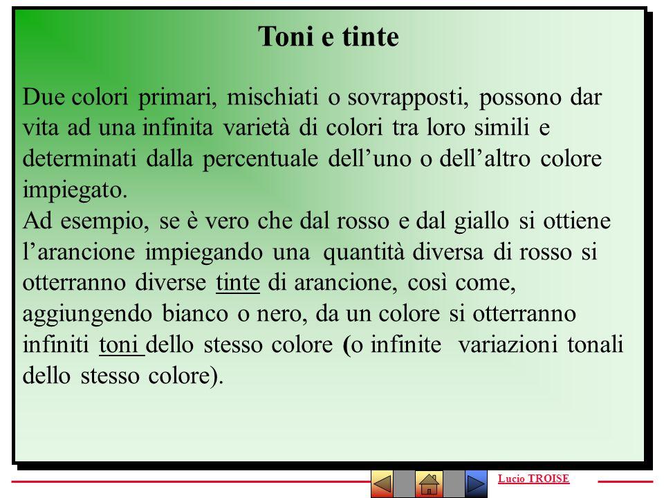 Lucio TROISE Toni e tinte Due colori primari, mischiati o sovrapposti, possono dar vita ad una infinita varietà di colori tra loro simili e determinat