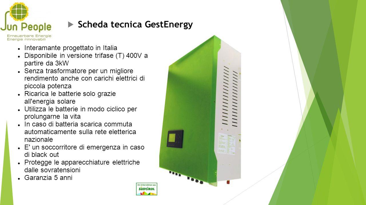  Scheda tecnica GestEnergy Interamante progettato in Italia Disponibile in versione trifase (T) 400V a partire da 3kW Senza trasformatore per un migl