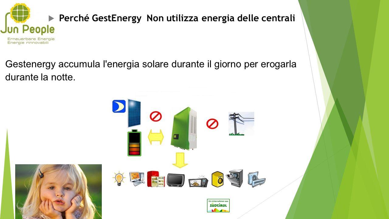  Perché GestEnergy Non utilizza energia delle centrali Gestenergy accumula l'energia solare durante il giorno per erogarla durante la notte.