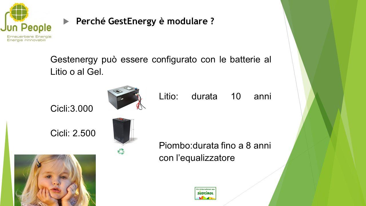  Perché GestEnergy è modulare ? Gestenergy può essere configurato con le batterie al Litio o al Gel. Litio: durata 10 anni Cicli:3.000 Cicli: 2.500 P