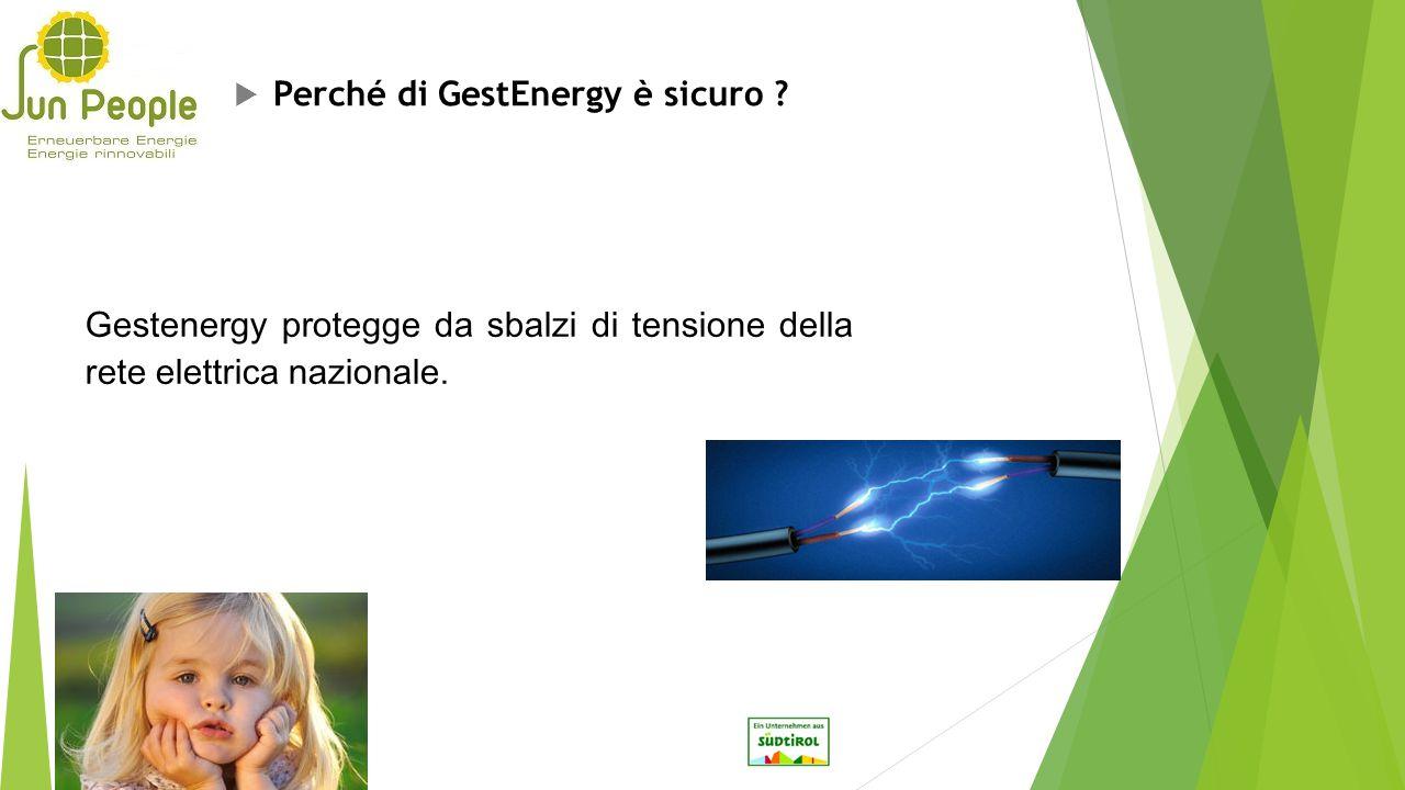  Perché di GestEnergy è sicuro ? Gestenergy protegge da sbalzi di tensione della rete elettrica nazionale.