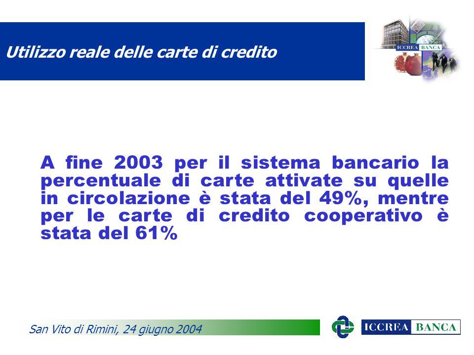 Utilizzo reale delle carte di credito A fine 2003 per il sistema bancario la percentuale di carte attivate su quelle in circolazione è stata del 49%, mentre per le carte di credito cooperativo è stata del 61% San Vito di Rimini, 24 giugno 2004