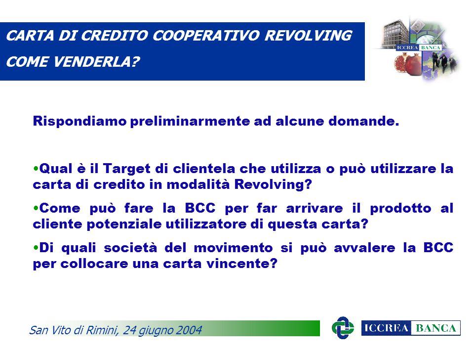 CARTA DI CREDITO COOPERATIVO REVOLVING COME VENDERLA.