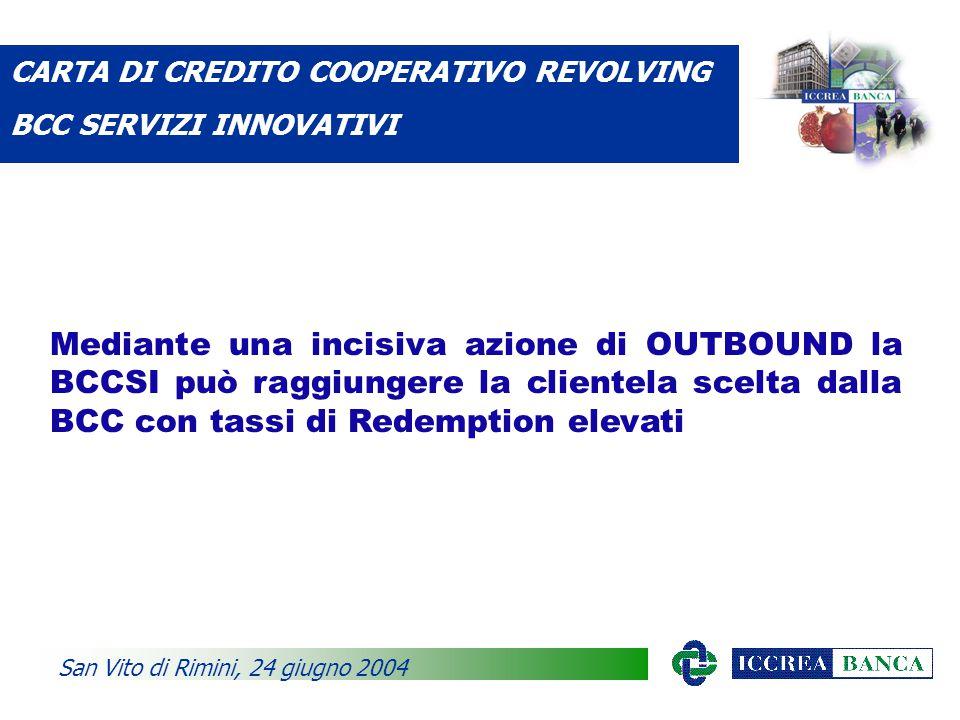 Mediante una incisiva azione di OUTBOUND la BCCSI può raggiungere la clientela scelta dalla BCC con tassi di Redemption elevati CARTA DI CREDITO COOPERATIVO REVOLVING BCC SERVIZI INNOVATIVI San Vito di Rimini, 24 giugno 2004