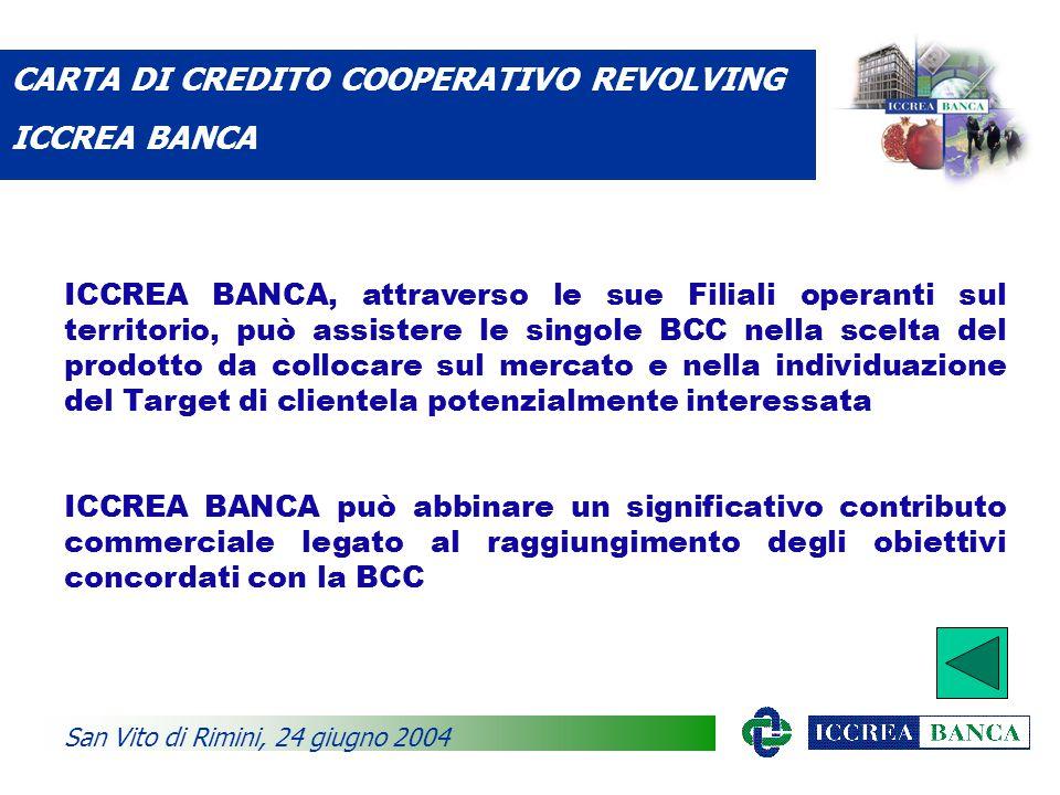 ICCREA BANCA, attraverso le sue Filiali operanti sul territorio, può assistere le singole BCC nella scelta del prodotto da collocare sul mercato e nella individuazione del Target di clientela potenzialmente interessata ICCREA BANCA può abbinare un significativo contributo commerciale legato al raggiungimento degli obiettivi concordati con la BCC CARTA DI CREDITO COOPERATIVO REVOLVING ICCREA BANCA San Vito di Rimini, 24 giugno 2004