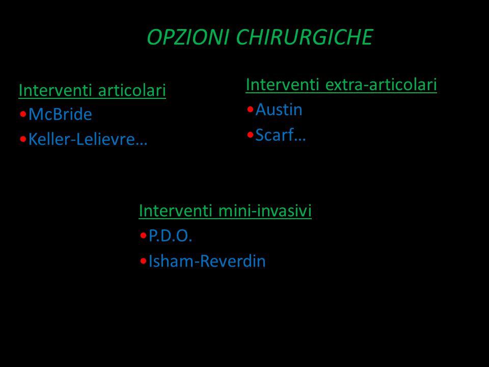 OPZIONI CHIRURGICHE Interventi articolari McBride Keller-Lelievre… Interventi extra-articolari Austin Scarf… Interventi mini-invasivi P.D.O. Isham-Rev