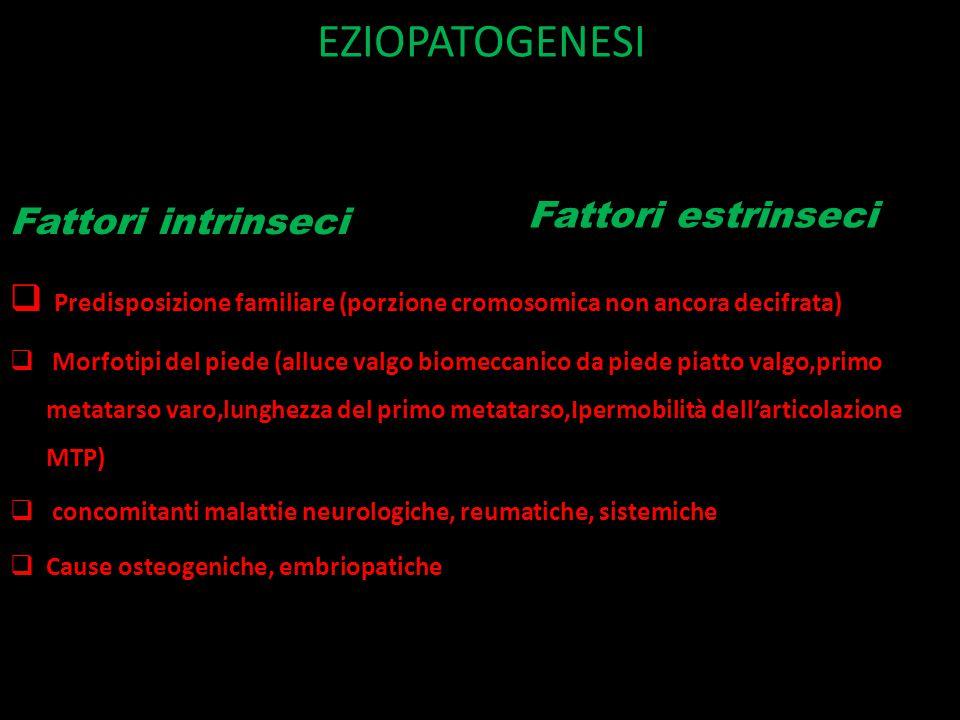 EZIOPATOGENESI Fattori intrinseci  Predisposizione familiare (porzione cromosomica non ancora decifrata)  Morfotipi del piede (alluce valgo biomeccanico da piede piatto valgo,primo metatarso varo,lunghezza del primo metatarso,Ipermobilità dell'articolazione MTP)  concomitanti malattie neurologiche, reumatiche, sistemiche  Cause osteogeniche, embriopatiche Fattori estrinseci