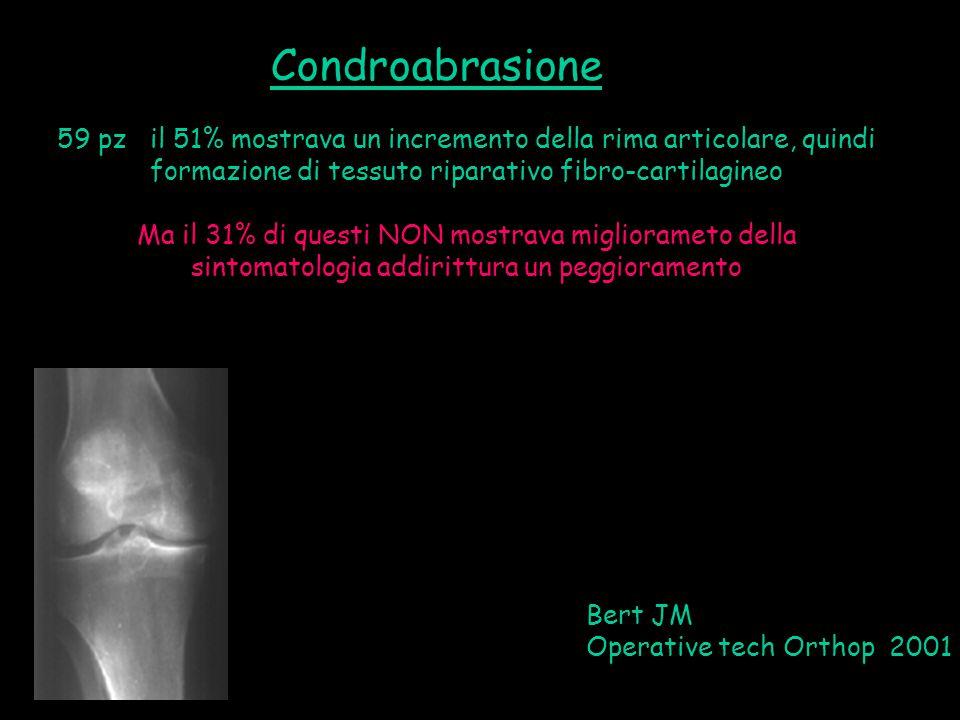 59 pz il 51% mostrava un incremento della rima articolare, quindi formazione di tessuto riparativo fibro-cartilagineo Ma il 31% di questi NON mostrava
