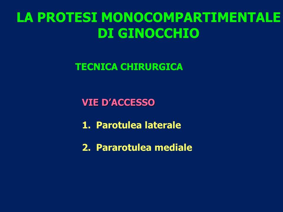 LA PROTESI MONOCOMPARTIMENTALE DI GINOCCHIO TECNICA CHIRURGICA VIE D'ACCESSO 1.Parotulea laterale 2.Pararotulea mediale