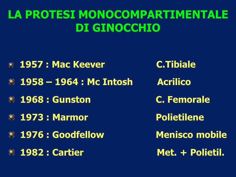 LA PROTESI MONOCOMPARTIMENTALE DI GINOCCHIO 1957 : Mac Keever C.Tibiale 1958 – 1964 : Mc Intosh Acrilico 1968 : Gunston C. Femorale 1973 : Marmor Poli