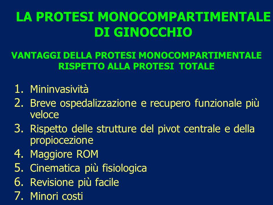 VANTAGGI DELLA PROTESI MONOCOMPARTIMENTALE RISPETTO ALLA PROTESI TOTALE 1.