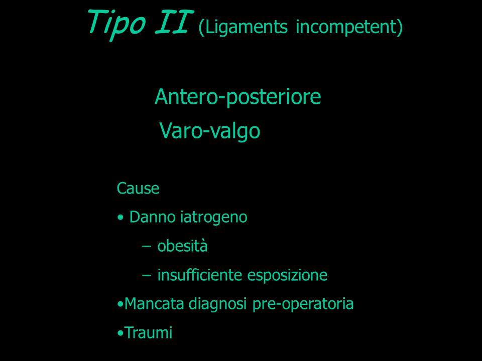 Varo-valgo Antero-posteriore Cause Danno iatrogeno − obesità − insufficiente esposizione Mancata diagnosi pre-operatoria Traumi Tipo II (Ligaments inc