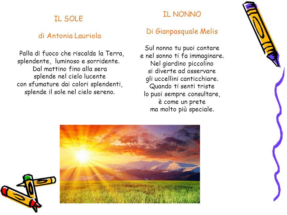 IL SOLE di Antonia Lauriola Palla di fuoco che riscalda la Terra, splendente, luminoso e sorridente. Dal mattino fino alla sera splende nel cielo luce