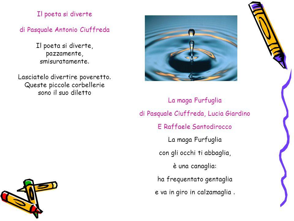 Il poeta si diverte di Pasquale Antonio Ciuffreda Il poeta si diverte, pazzamente, smisuratamente. Lasciatelo divertire poveretto. Queste piccole corb