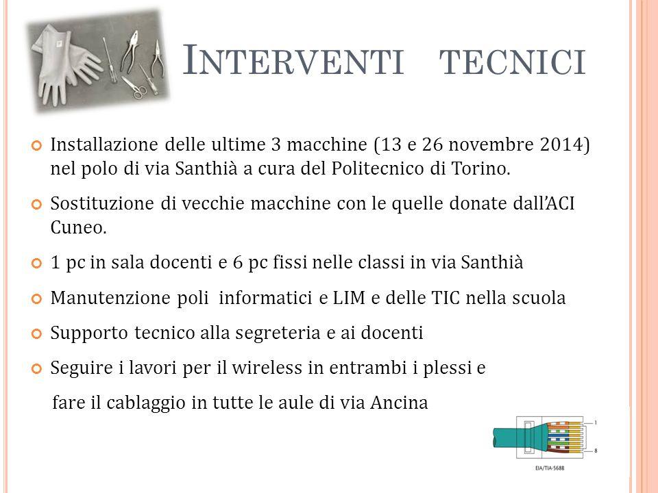 I NTERVENTI TECNICI Installazione delle ultime 3 macchine (13 e 26 novembre 2014) nel polo di via Santhià a cura del Politecnico di Torino.