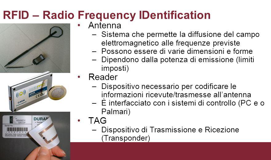 RFID – Radio Frequency IDentification Antenna –Sistema che permette la diffusione del campo elettromagnetico alle frequenze previste –Possono essere di varie dimensioni e forme –Dipendono dalla potenza di emissione (limiti imposti) Reader –Dispositivo necessario per codificare le informazioni ricevute/trasmesse all'antenna –È interfacciato con i sistemi di controllo (PC e o Palmari) TAG –Dispositivo di Trasmissione e Ricezione (Transponder)