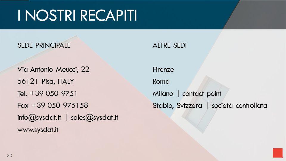 20 SEDE PRINCIPALE Via Antonio Meucci, 22 56121 Pisa, ITALY Tel.