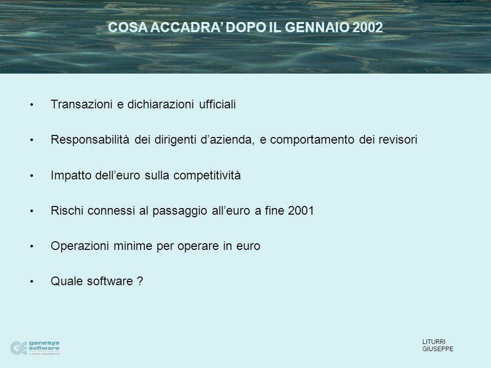 Transazioni e dichiarazioni ufficiali Responsabilità dei dirigenti d'azienda, e comportamento dei revisori Impatto dell'euro sulla competitività Rischi connessi al passaggio all'euro a fine 2001 Operazioni minime per operare in euro Quale software .