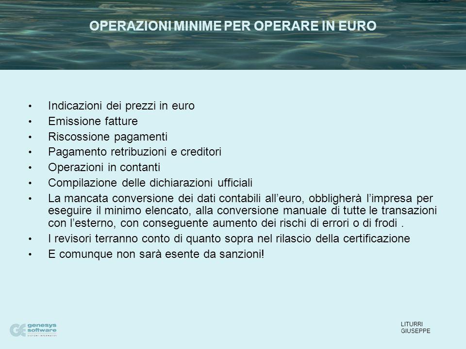 Indicazioni dei prezzi in euro Emissione fatture Riscossione pagamenti Pagamento retribuzioni e creditori Operazioni in contanti Compilazione delle di