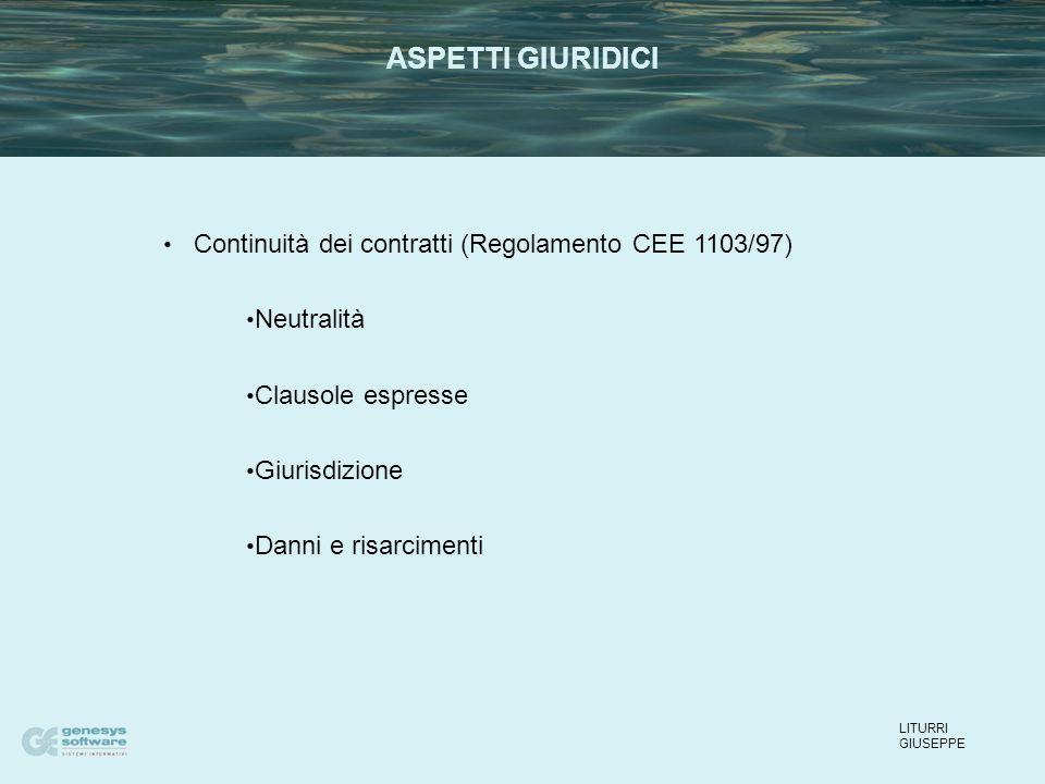 Continuità dei contratti (Regolamento CEE 1103/97) Neutralità Clausole espresse Giurisdizione Danni e risarcimenti LITURRI GIUSEPPE ASPETTI GIURIDICI