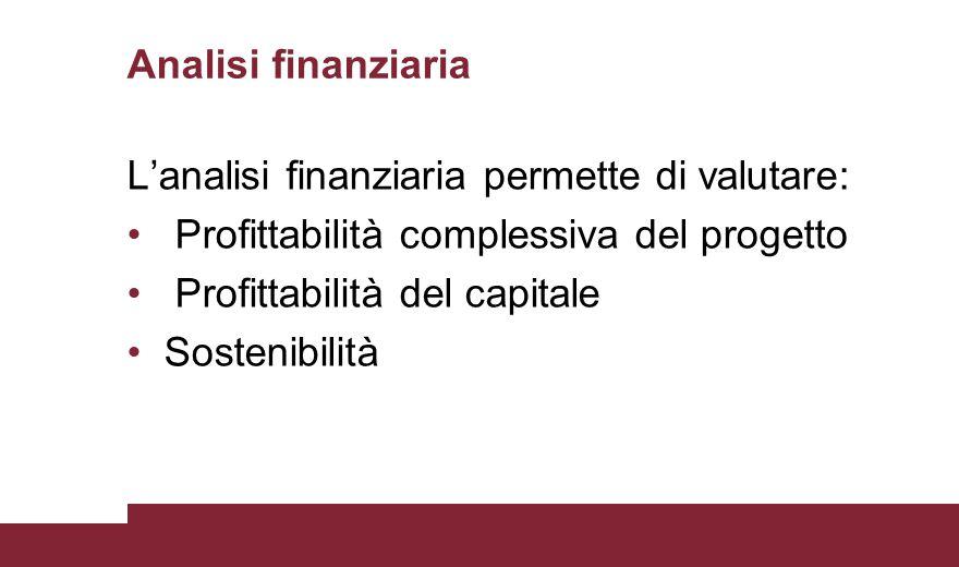 Analisi finanziaria L'analisi finanziaria permette di valutare: Profittabilità complessiva del progetto Profittabilità del capitale Sostenibilità