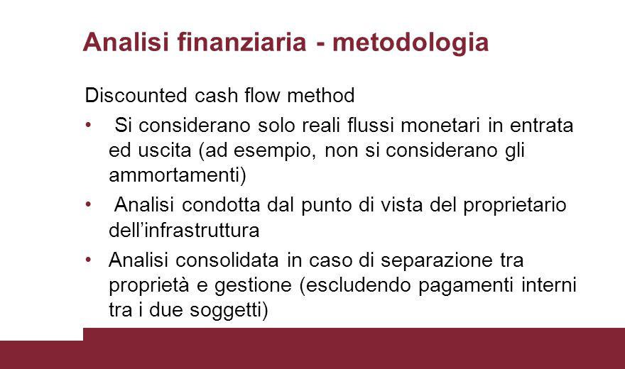 Analisi finanziaria - metodologia Discounted cash flow method Si considerano solo reali flussi monetari in entrata ed uscita (ad esempio, non si consi