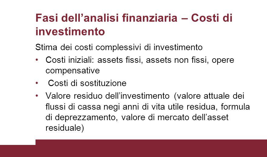 Fasi dell'analisi finanziaria – Costi di investimento Stima dei costi complessivi di investimento Costi iniziali: assets fissi, assets non fissi, oper