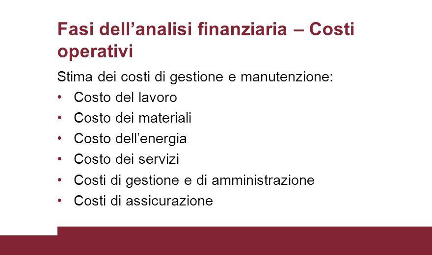 Fasi dell'analisi finanziaria – Costi operativi Stima dei costi di gestione e manutenzione: Costo del lavoro Costo dei materiali Costo dell'energia Co