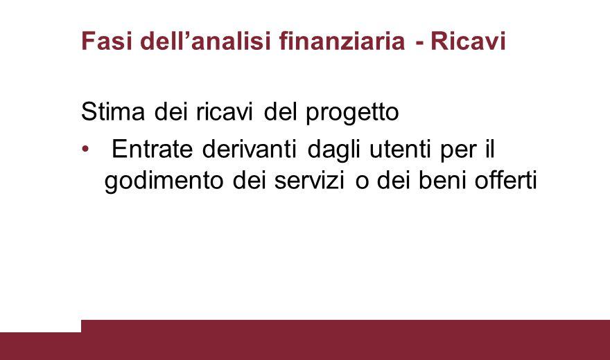 Fasi dell'analisi finanziaria - Ricavi Stima dei ricavi del progetto Entrate derivanti dagli utenti per il godimento dei servizi o dei beni offerti