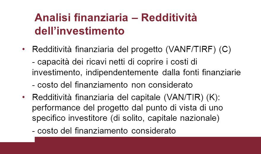 Analisi finanziaria – Redditività dell'investimento Redditività finanziaria del progetto (VANF/TIRF) (C) - capacità dei ricavi netti di coprire i cost