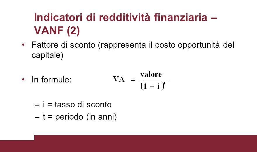 Indicatori di redditività finanziaria – VANF (2) Fattore di sconto (rappresenta il costo opportunità del capitale) In formule: –i = tasso di sconto –t