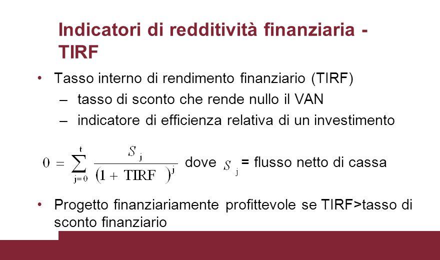 Indicatori di redditività finanziaria - TIRF Tasso interno di rendimento finanziario (TIRF) – tasso di sconto che rende nullo il VAN – indicatore di e