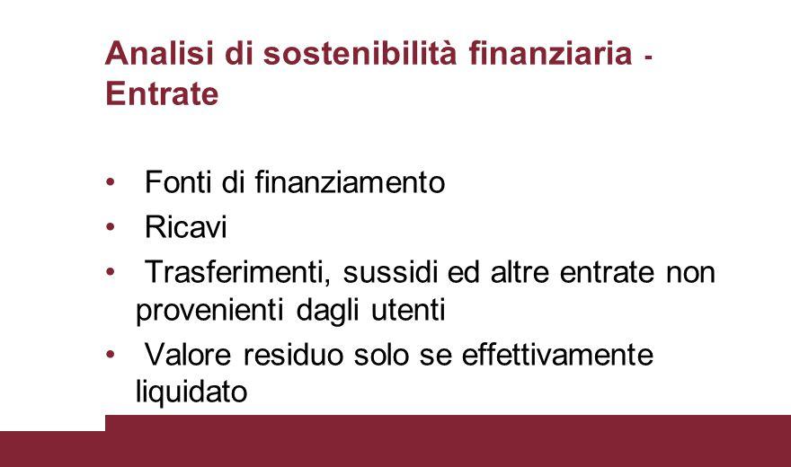 Analisi di sostenibilità finanziaria - Entrate Fonti di finanziamento Ricavi Trasferimenti, sussidi ed altre entrate non provenienti dagli utenti Valo