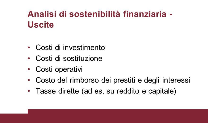 Analisi di sostenibilità finanziaria - Uscite Costi di investimento Costi di sostituzione Costi operativi Costo del rimborso dei prestiti e degli inte