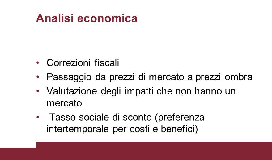Analisi economica Correzioni fiscali Passaggio da prezzi di mercato a prezzi ombra Valutazione degli impatti che non hanno un mercato Tasso sociale di