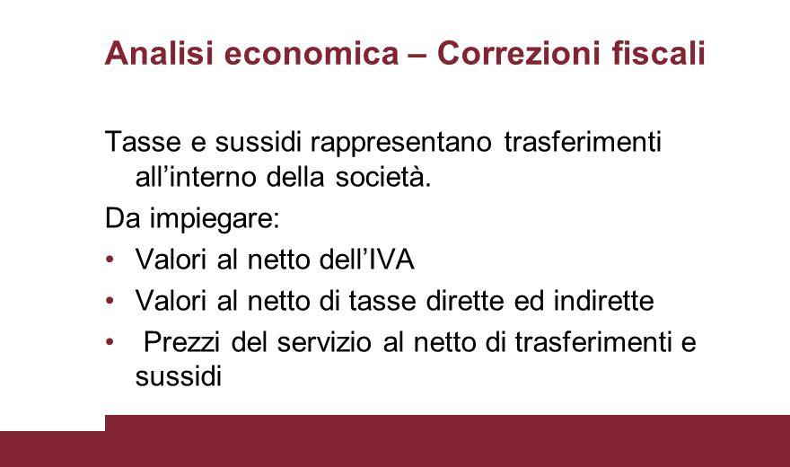 Analisi economica – Correzioni fiscali Tasse e sussidi rappresentano trasferimenti all'interno della società. Da impiegare: Valori al netto dell'IVA V