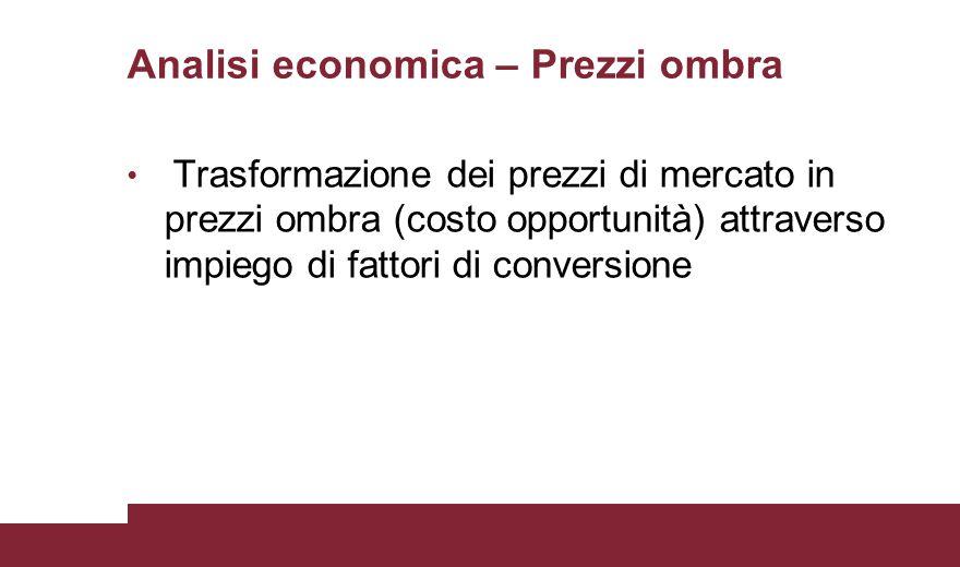 Analisi economica – Prezzi ombra Trasformazione dei prezzi di mercato in prezzi ombra (costo opportunità) attraverso impiego di fattori di conversione