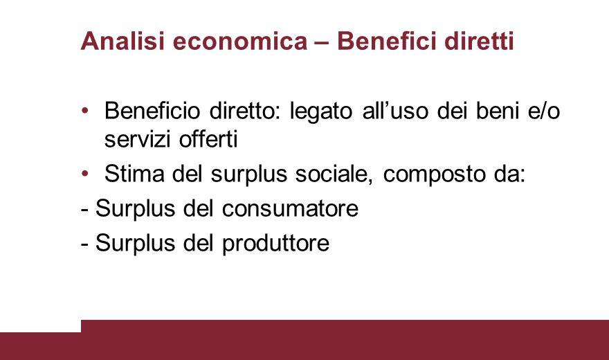Analisi economica – Benefici diretti Beneficio diretto: legato all'uso dei beni e/o servizi offerti Stima del surplus sociale, composto da: - Surplus