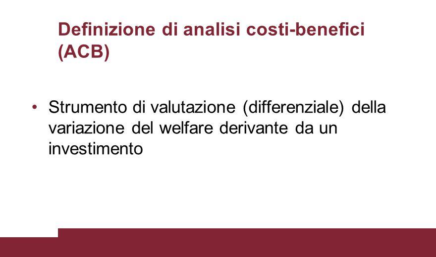 Inquadramento dell'Analisi CBA condotta a prezzi costanti Orizzonte temporale di analisi: 27 anni (2 anni di costruzione e 25 di gestione) Tasso di sconto finanziario: 5% Tasso sociale di sconto: 3.5%