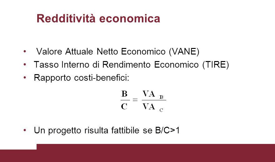 Redditività economica Valore Attuale Netto Economico (VANE) Tasso Interno di Rendimento Economico (TIRE) Rapporto costi-benefici: Un progetto risulta