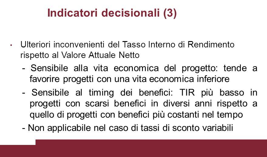 Indicatori decisionali (3) Ulteriori inconvenienti del Tasso Interno di Rendimento rispetto al Valore Attuale Netto - Sensibile alla vita economica de