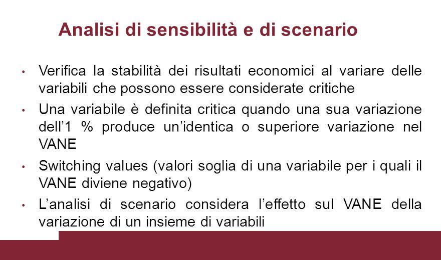 Analisi di sensibilità e di scenario Verifica la stabilità dei risultati economici al variare delle variabili che possono essere considerate critiche