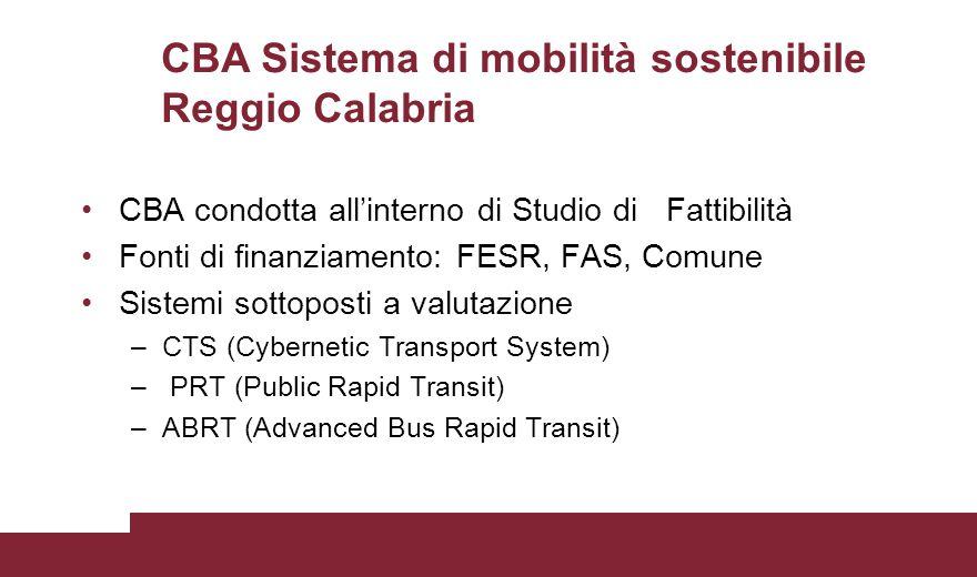 CBA Sistema di mobilità sostenibile Reggio Calabria CBA condotta all'interno di Studio di Fattibilità Fonti di finanziamento: FESR, FAS, Comune Sistem