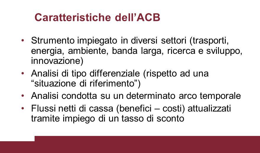 Caratteristiche dell'ACB (2) Quantificazione di tutti i tipi di impatti rilevanti (che influenzano il welfare) prodotti dall'intervento nella società Definizione indicatore monetario (VANF) e non monetario (TIRF) di redditività finanziaria Definizione indicatore monetario (VANE) e non monetario (TIRE) di redditività economica