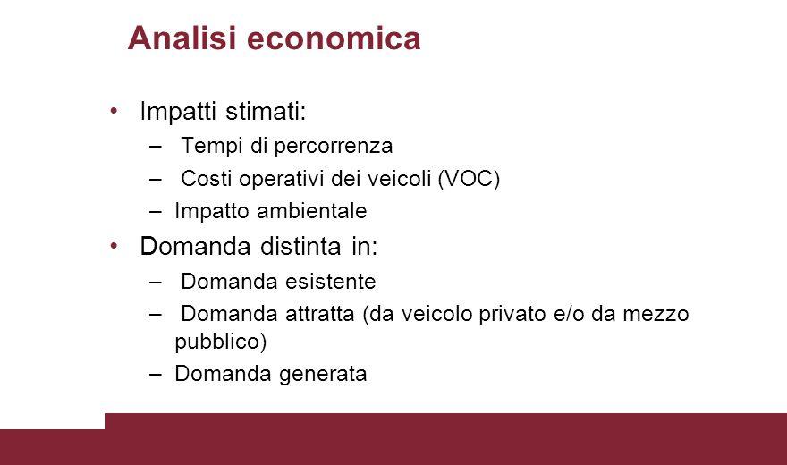 Analisi economica Impatti stimati: – Tempi di percorrenza – Costi operativi dei veicoli (VOC) –Impatto ambientale Domanda distinta in: – Domanda esist
